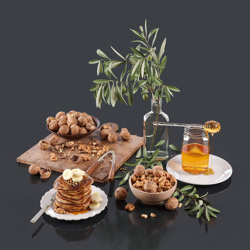 3D model walnut nuts honey