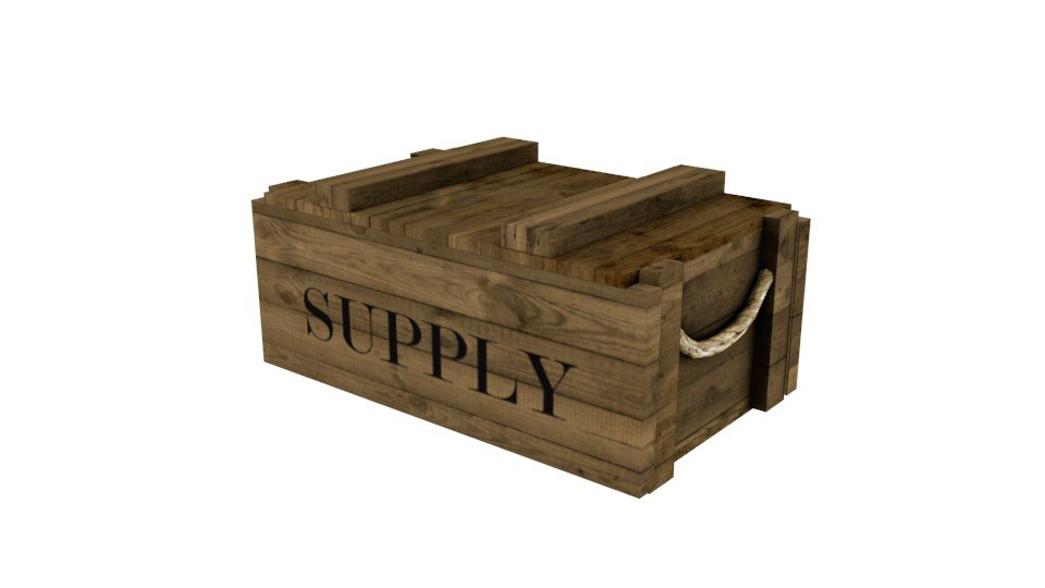 3D wooden supply chest model