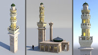 3D model mosque minaret