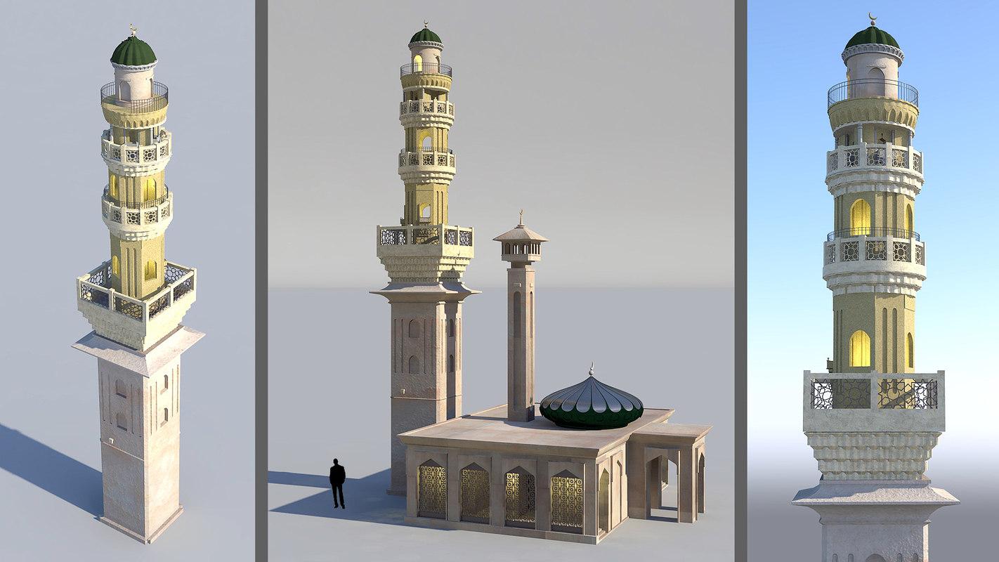 3D model mosque minaret