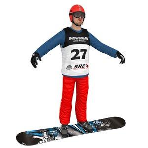 snowboarder man board 3D model