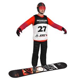 snowboarder man board 3D
