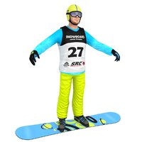 snowboarder man board 3D model