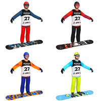 pack snowboarder boards man 3D model