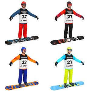 pack snowboarder boards man 3D model