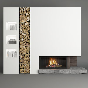 3D fireplace firewood model