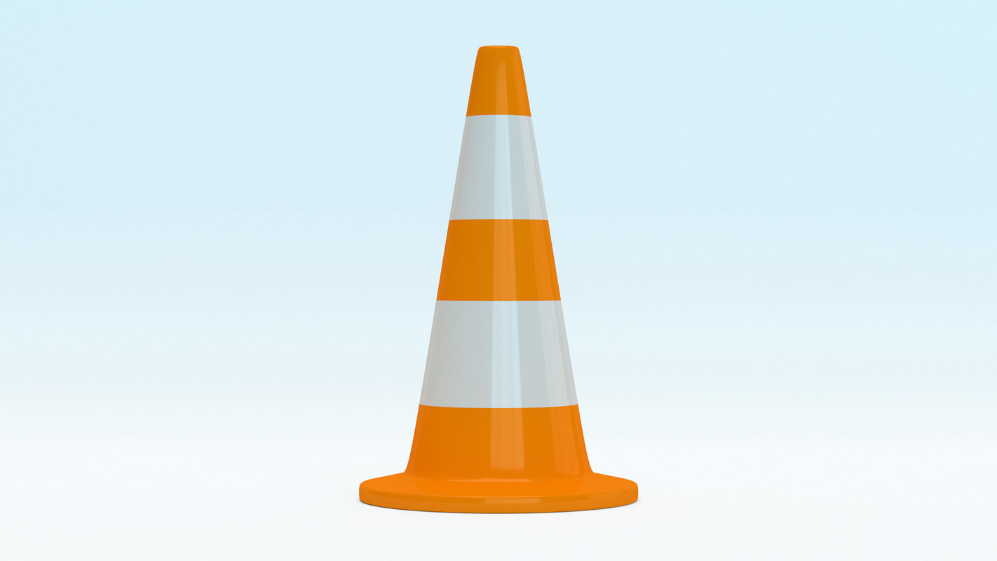 traffic cone rounded 3D