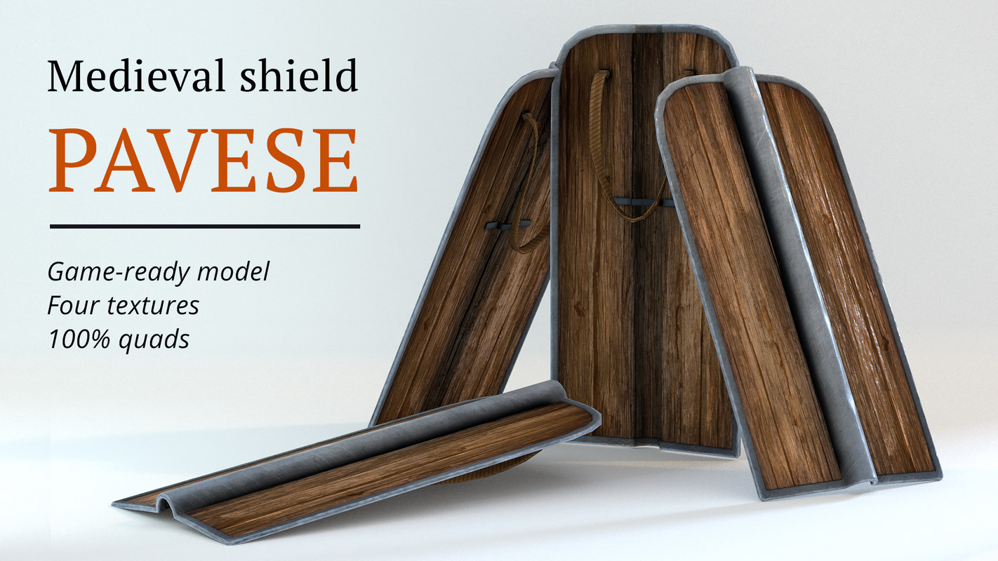 medieval shield pavese 3D model