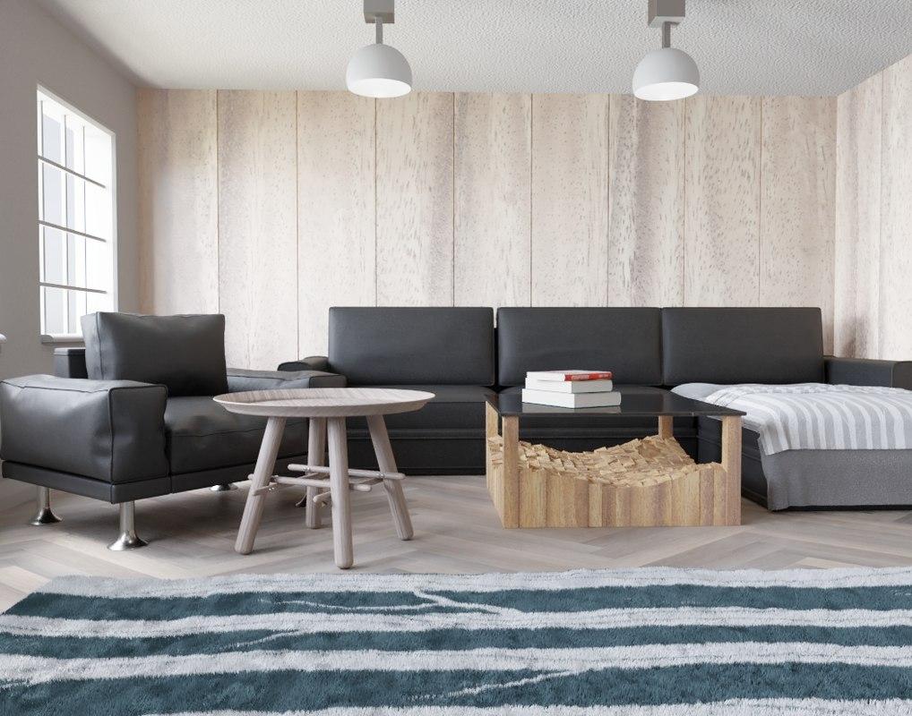 3D wood stiled livingroom living
