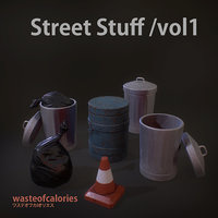 3D Street Stuff /vol1 - PBR Game Ready - Atlas Texture