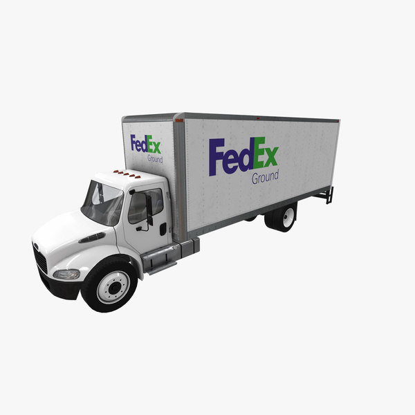 3D realistic freightliner m2 fedex