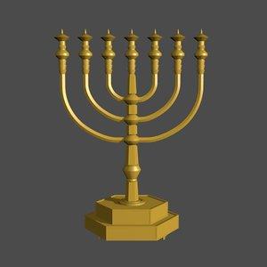 modern golden menorah model