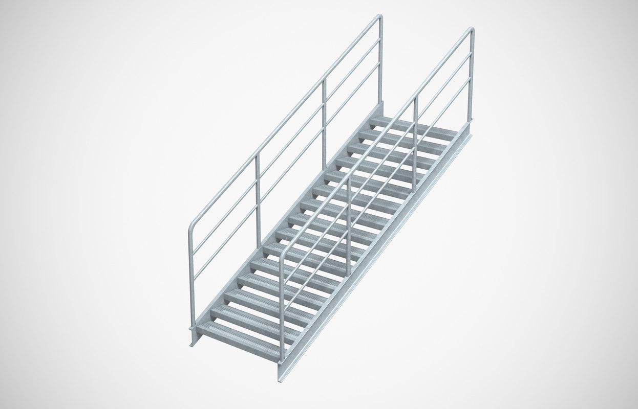 3D model industrial stair 6