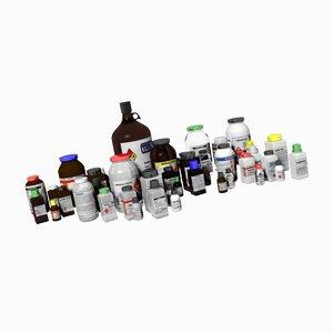 chemical bottles 3D
