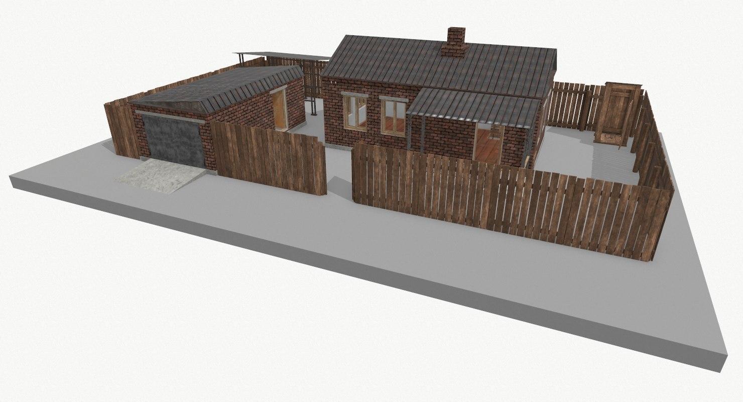 brick house garage building model