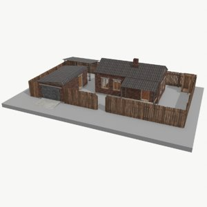 brick house garage building model