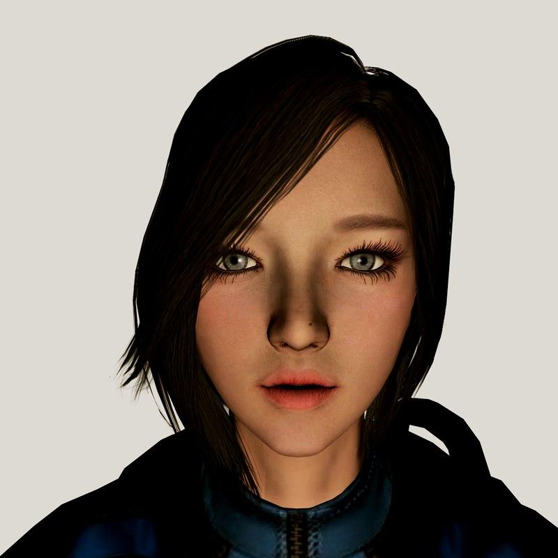 3D warrior girl barbara model