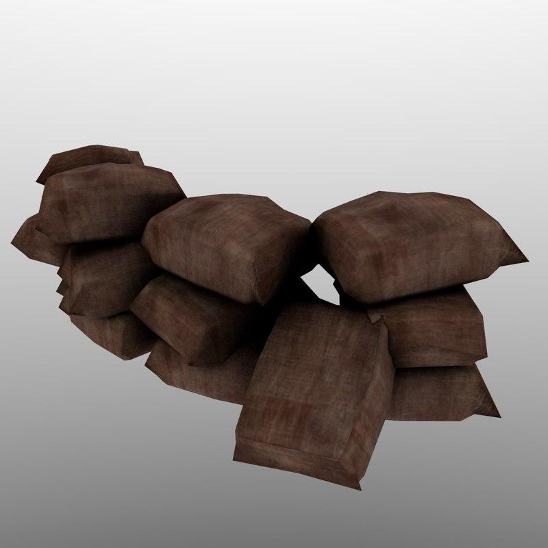 3D model barricade sand bags