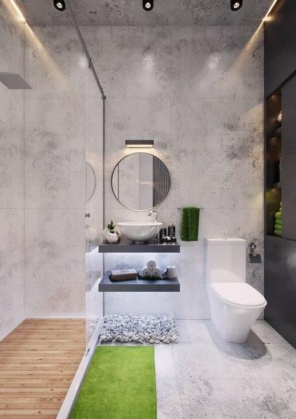 modern loft bathroom interior model