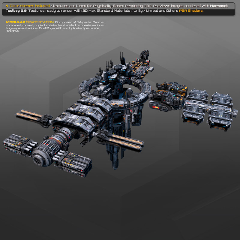 modular space station 3D