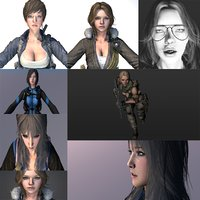 3D Warrior Pack Girls 9 in 1 (Rigged and Animation