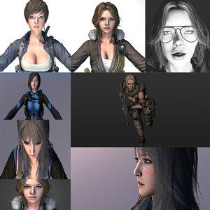 warrior girls 9 rigged 3D