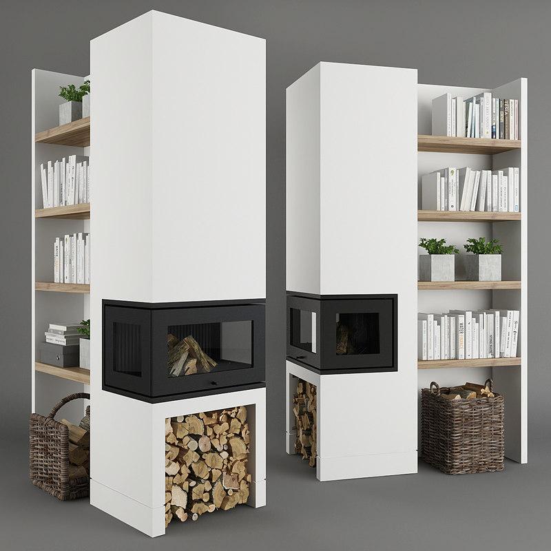 firewood fireplace book 3D model
