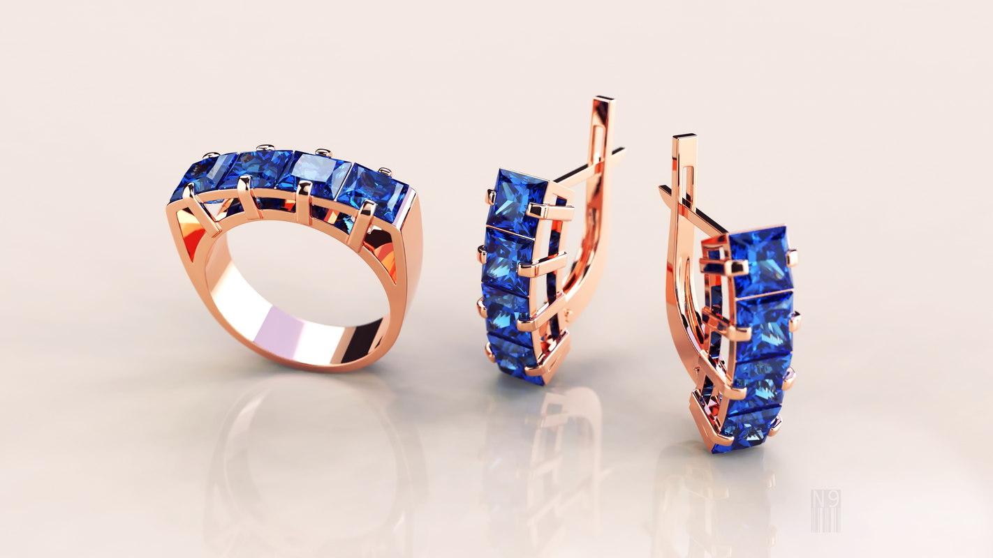 3D model stl ring earrings