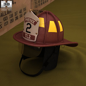 3D firefighting helmet model