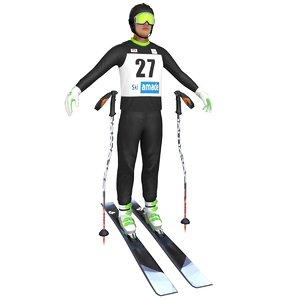 skier ski 3D model