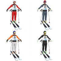 3D pack skier ski model