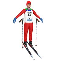 3D model cross country skier ski