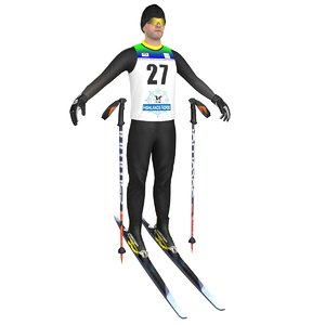 cross country skier ski 3D