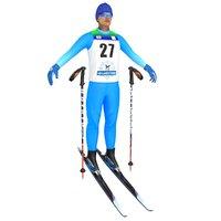 cross country skier ski 3D model