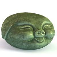 3D pig tea figurine model