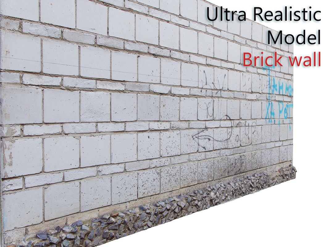 3D model white brick wall
