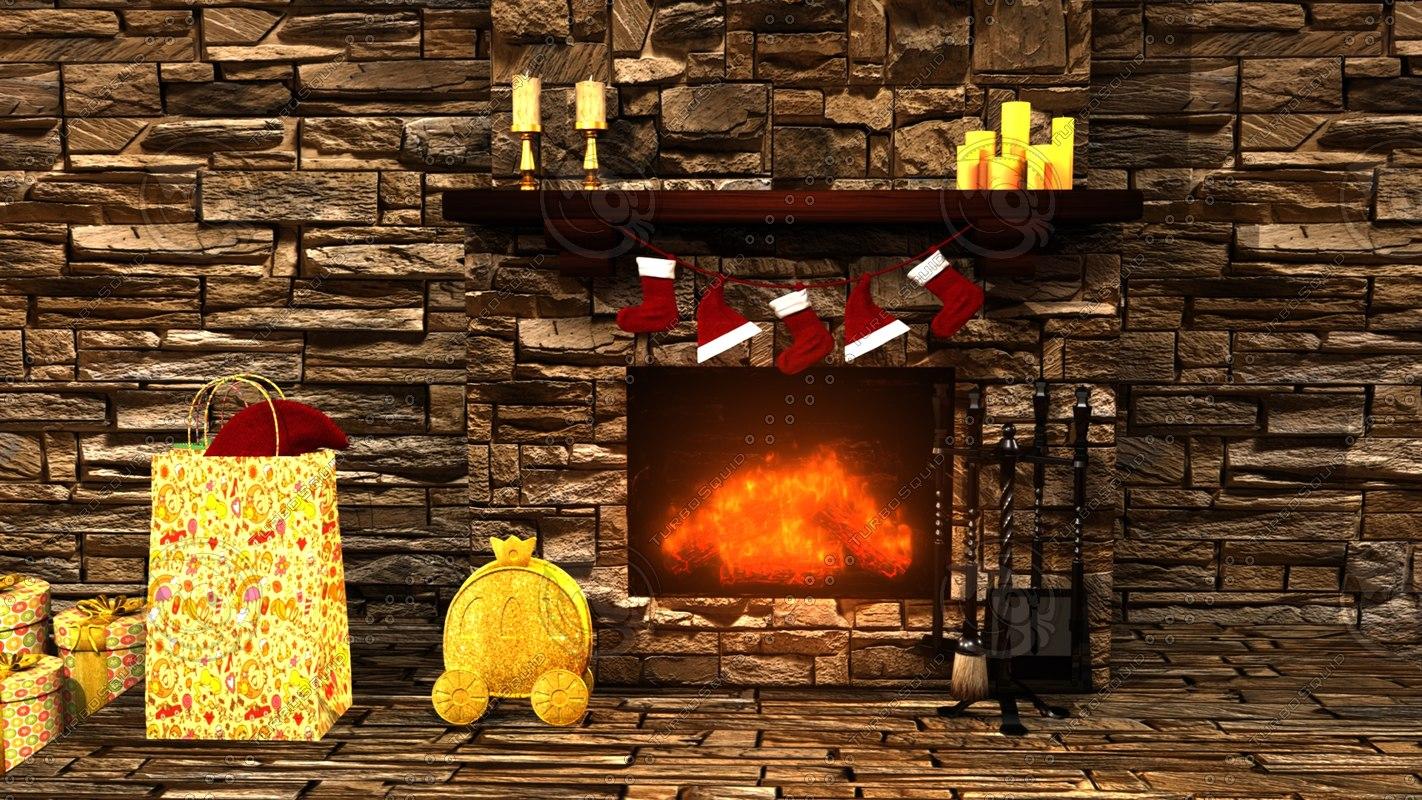fireplace christmas 3D model