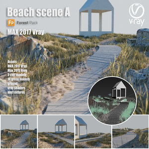 3D beach scene grass ground model