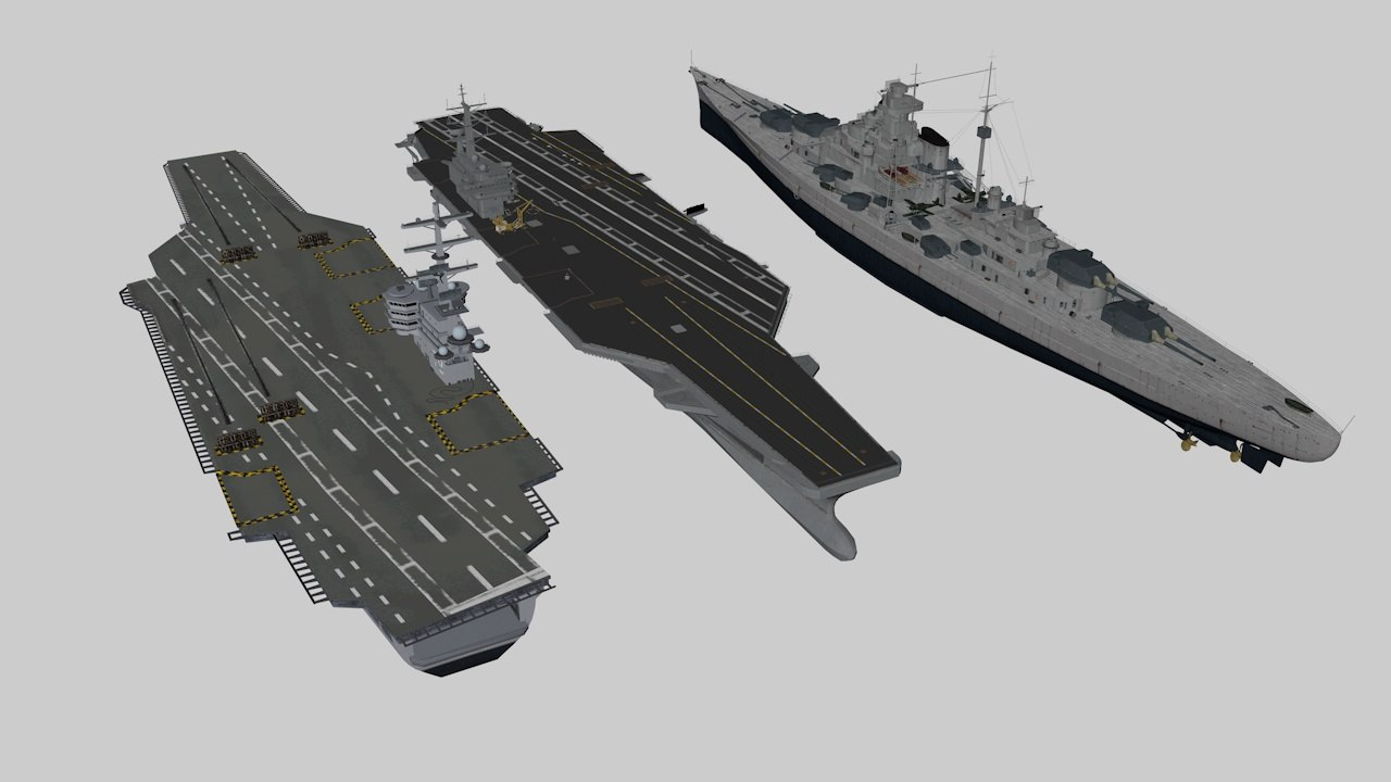 pack ships aircraft carriers model