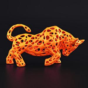 3D bull wireframe