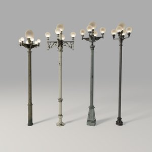 1900s los angeles street lamps 3D