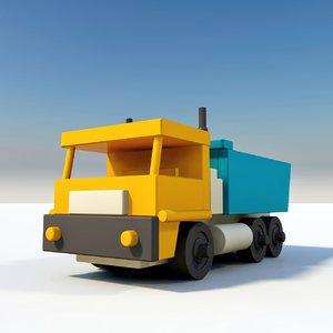 wooden truck toy 3D model