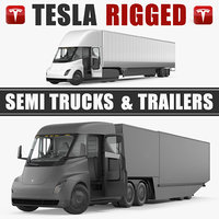 Tesla Semi Trucks and Trailers Rigged 3D Models Collection