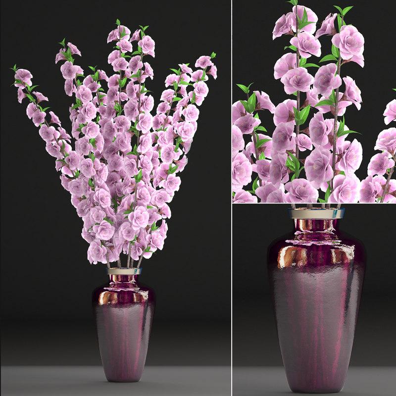 3D sakura bouquet vase model