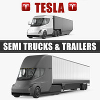 Tesla Semi Trucks and Trailers 3D Models Collection