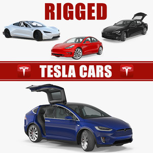 tesla rigged cars 3 3D