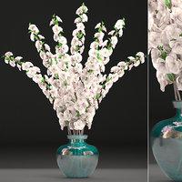 3D model sakura bouquet vase