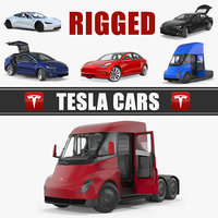 Rigged Tesla Cars Big 3D Models Collection