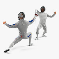 french olympic fencers fight 3D model