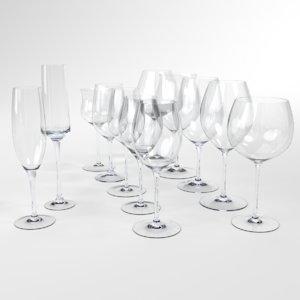 3D blender set wine glass